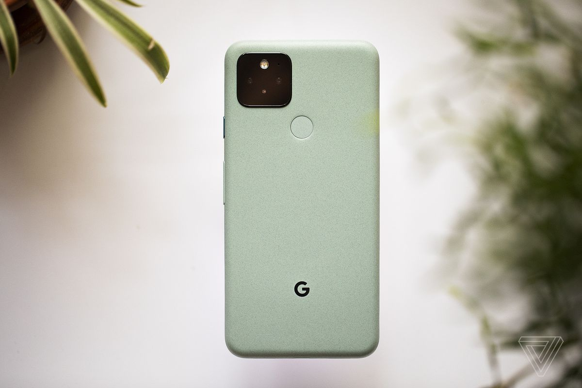 "The Google Pixel 5 in ""Sorta Sage"" green"