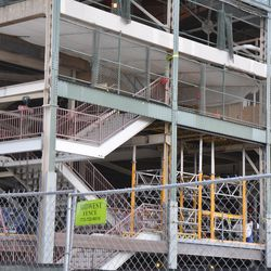 Railings added to the new northwest corner staircase -