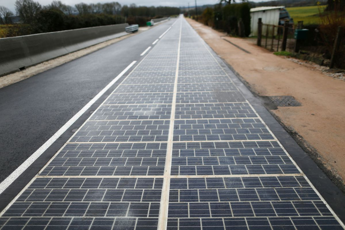 highway road paved with solar panels