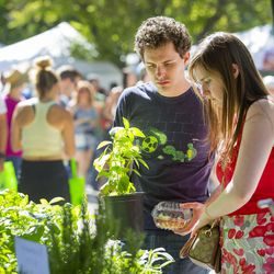 David and Casie Silvia purchase plants during the opening day of the farmers market Saturday, June 13, 2015, in Salt Lake City at Pioneer Park.