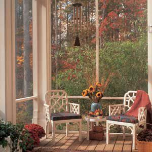 <p>Sited on the south side of the house, the porch collects heat throughout the day, warming the home on cool spring evenings. It also shades the interior during the hot days of summer.</p>