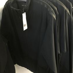 Theory + black zip jacket, $109 (was $295)