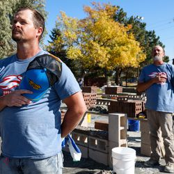 Masons stands for the national anthem duringthe Spec Mix Bricklayer 500 regional competition at Interstate Brick in West Jordan on Friday, Oct. 9, 2020.
