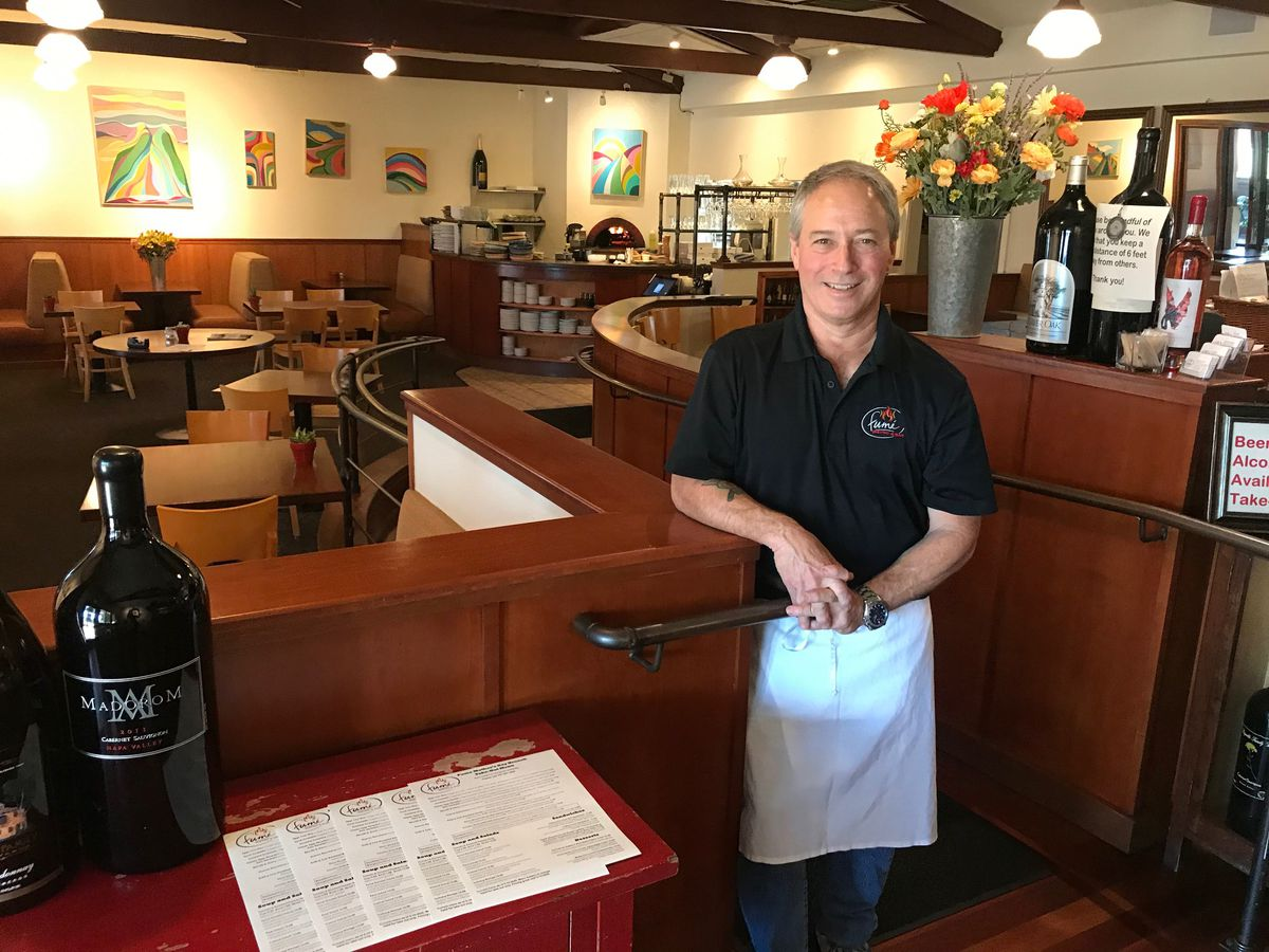 Terry Letson, the co-owner of Fumé Bistro & Bar in Napa, Calif., is pictured on Thursday, May 7, 2020. The business opened for two nights for on-premise dining despite a Napa County's COVID-19 public health order, according the the Napa Valley Register.