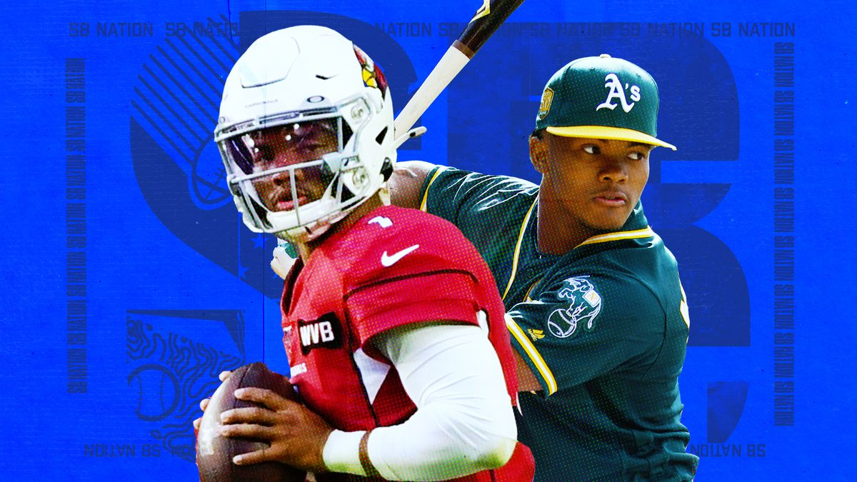 Photos of Kyler Murray in an Arizona Cardinals and at batting practice in an Oakland Athletics uniform superimposed on a blue background