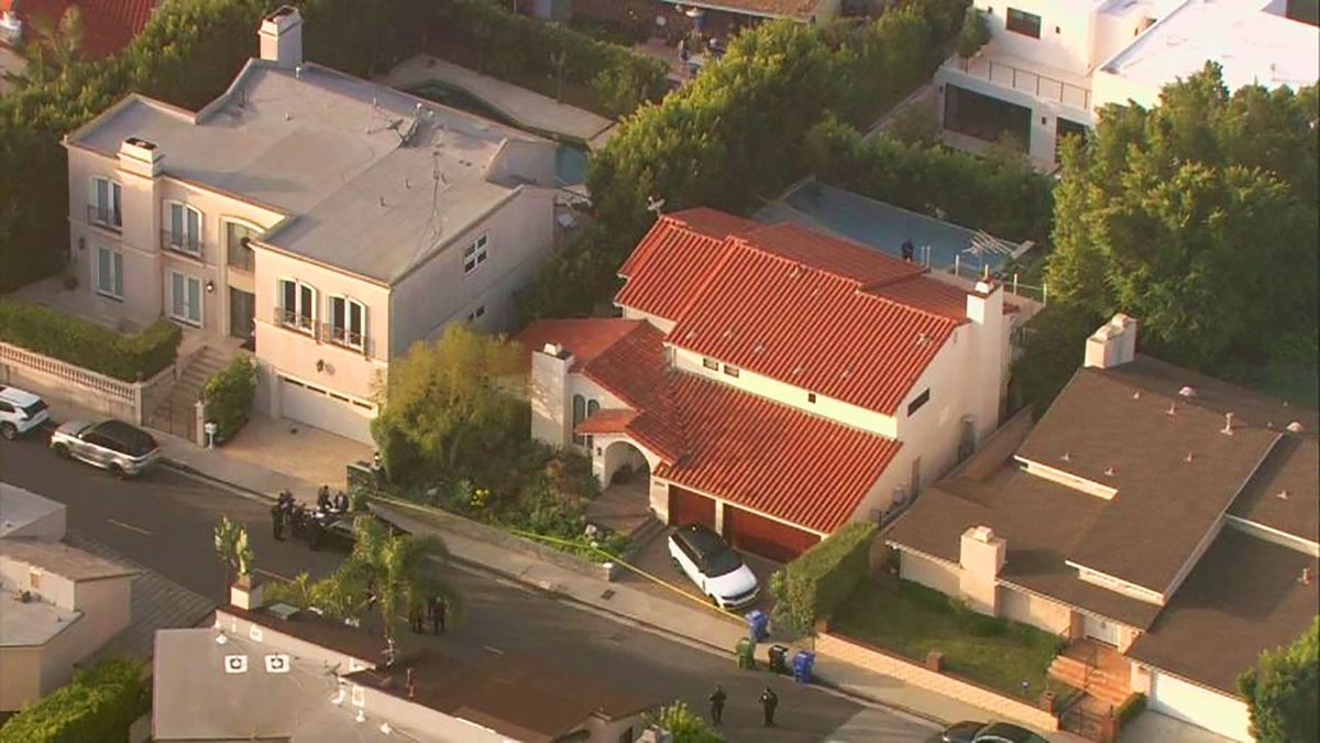 This aerial photo taken from video provided by Fox11 News KTTV-TV shows the Hollywood Hills home, center, where Pop Smoke, 20, was shot and killed early Wednesday in Los Angeles.