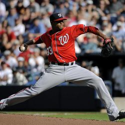 Washington Nationals pitcher Edwin Jackson delivers to the Atlanta Braves during the second inning of a baseball game Saturday, Sept. 15, 2012, in Atlanta.