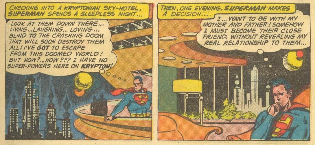 Back in time, Superman checks into a Kryptonian hotel and broods about how the whole world will soon be destroyed, in Superman #141, DC Comics (1960).