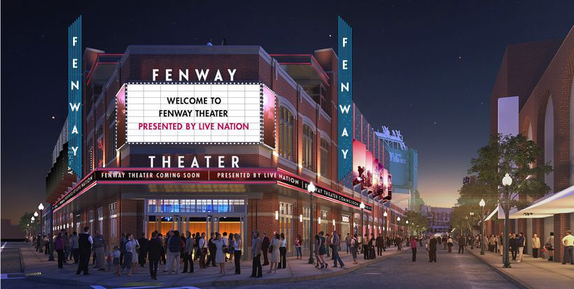 A rendering of a planned theater, including a bright marquee.