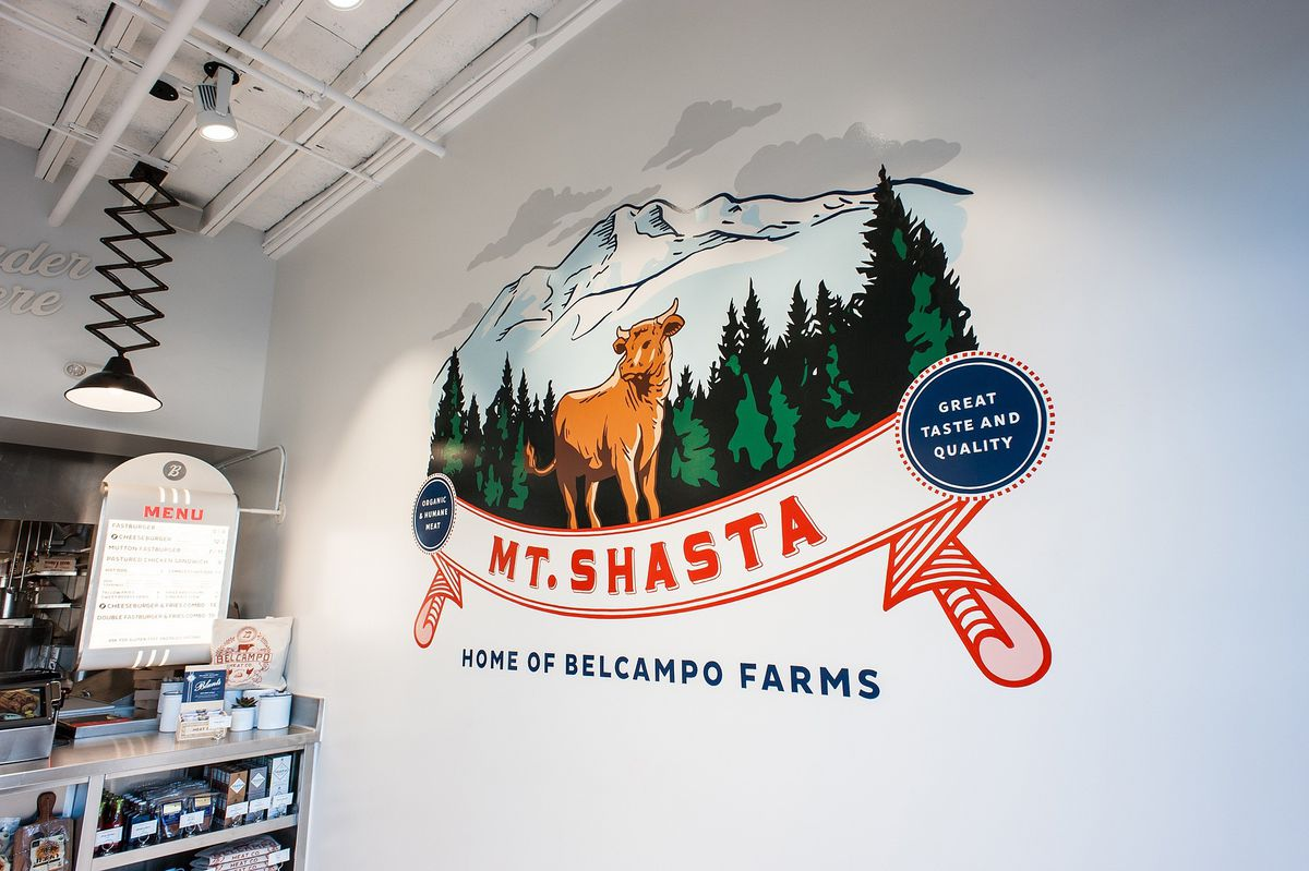 Mural of Mt. Shasta at Belcampo on West Third Street in Los Angeles.