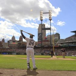 Detroit Tigers' Miguel Cabrera (24) prepares to bat during the first inning of a baseball game against the Minnesota Twins at Comerica Park in Detroit, Sunday, Sept. 23, 2012.