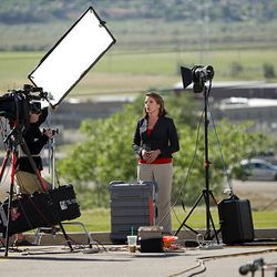 News media report from the Fred House Training Center near the Utah State Prison prior to the execution.