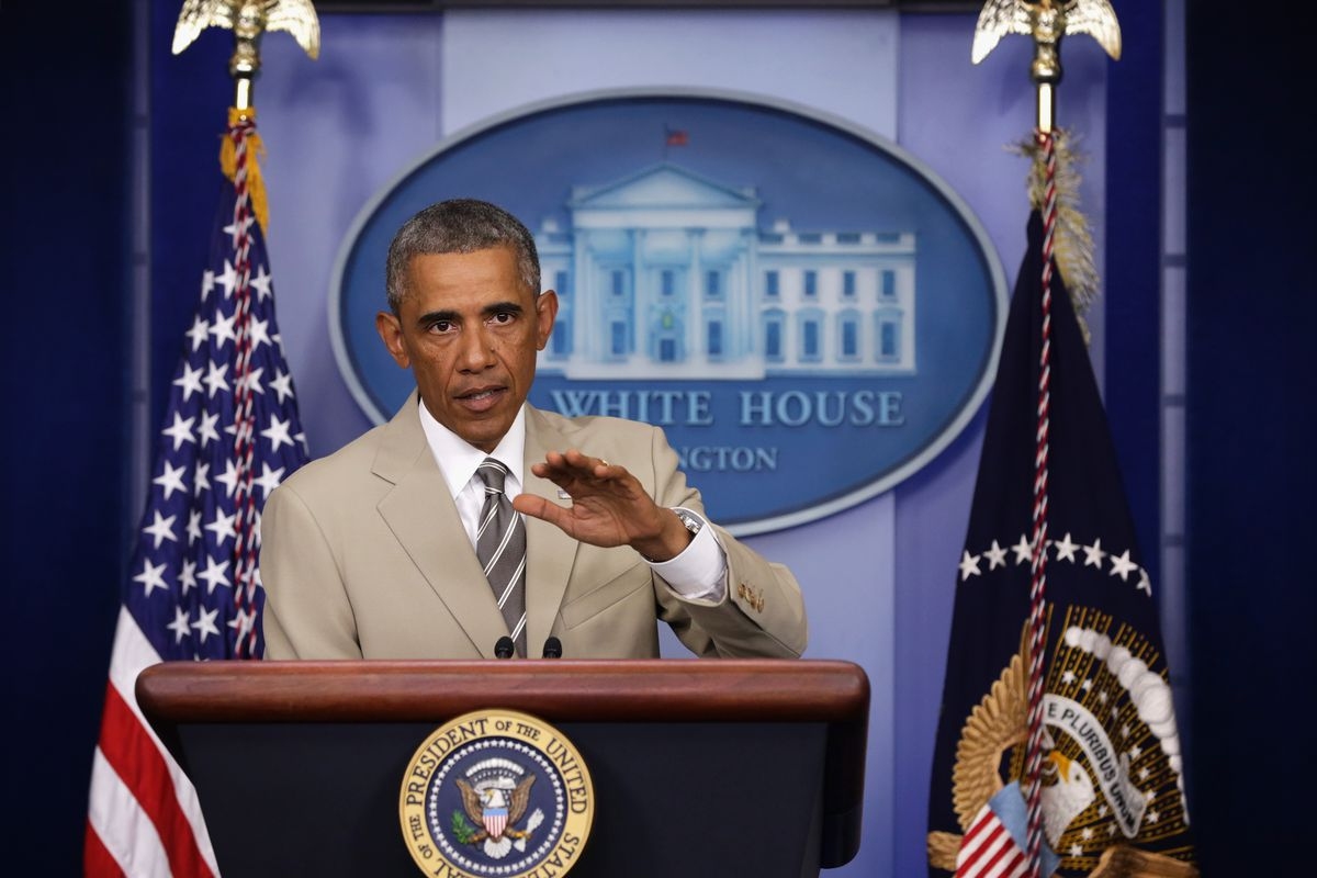 The president gave a briefing Thursday about Ukr- WHAT IS WITH THAT SUIT YOU GUYS