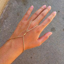 """22K Shiny Gold 3 Nugget Bead Hand Chain Bracelet, <a href=""""https://www.etsy.com/listing/112446775/22k-shiny-gold-3-nugget-bead-hand-chain?ref=related-2"""">$16.50</b> by hungryeyes on Etsy"""