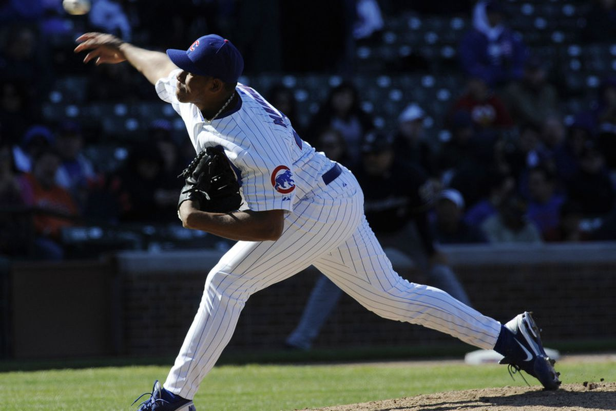 Chicago, IL, USA; Chicago Cubs relief pitcher Carlos Marmol pitches the ninth inning against the Milwaukee Brewers at Wrigley Field. The Brewers defeated the Cubs 2-1. Credit: David Banks-US PRESSWIRE