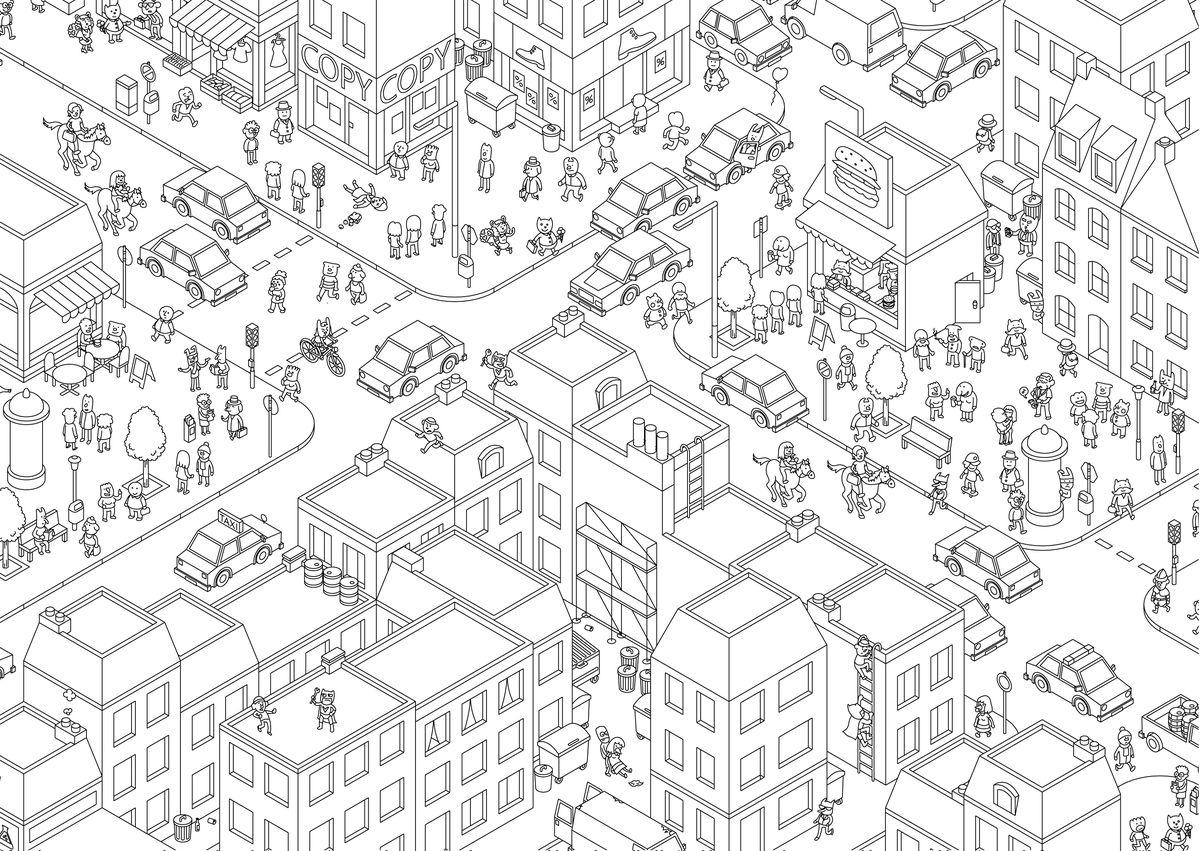 Una toma detallada del mapa de Crime City, que muestra a un héroe enmascarado saltando de un tejado a otro para enfrentarse a un criminal y a una pareja a caballo en la calle.