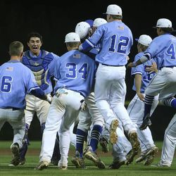 Pleasant Grove celebrates as they defeat Bingham Wednesday, May 21, 2014 in a 5A one-loss bracket game at Kearns. Pleasant Grove won 5-4.