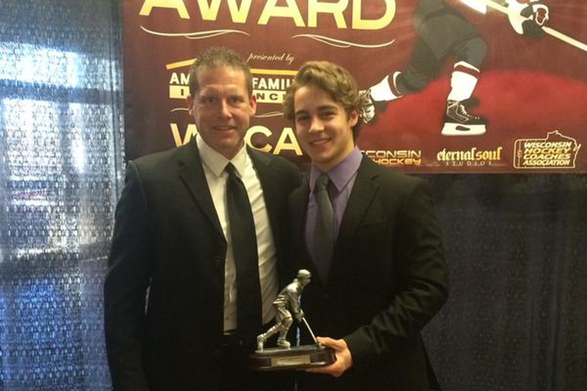 Tony Stillwell poses with Notre Dame Academy head coach Cory McCracken and the Mr. Hockey award.