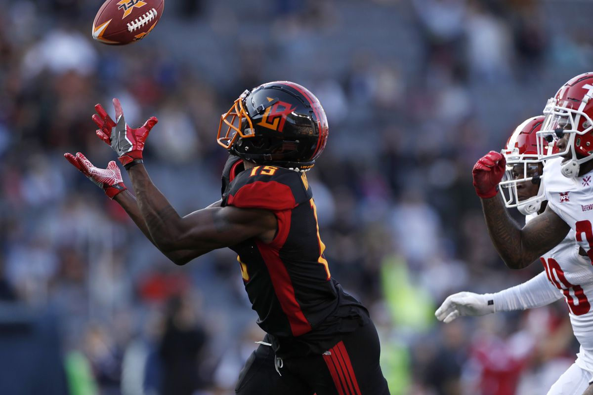 Tre McBride #15 of the LA Wildcats makes a catch during the XFL game against the DC Defenders at Dignity Health Sports Park on February 23, 2020 in Carson, California