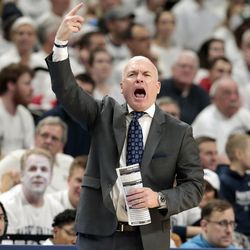 Penn State head coach Pat Chambers gestures on the sideline as his team takes on Ohio State during the second half of an NCAA college basketball game in State College, Pa., Thursday, Feb. 15, 2018. (AP Photo/Chris Knight)