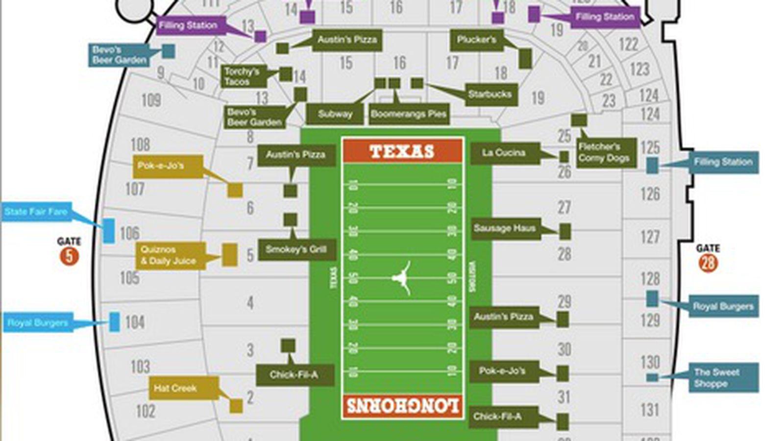 Dkr Stadium Map Stadium map shows new concessions   Burnt Orange Nation Dkr Stadium Map