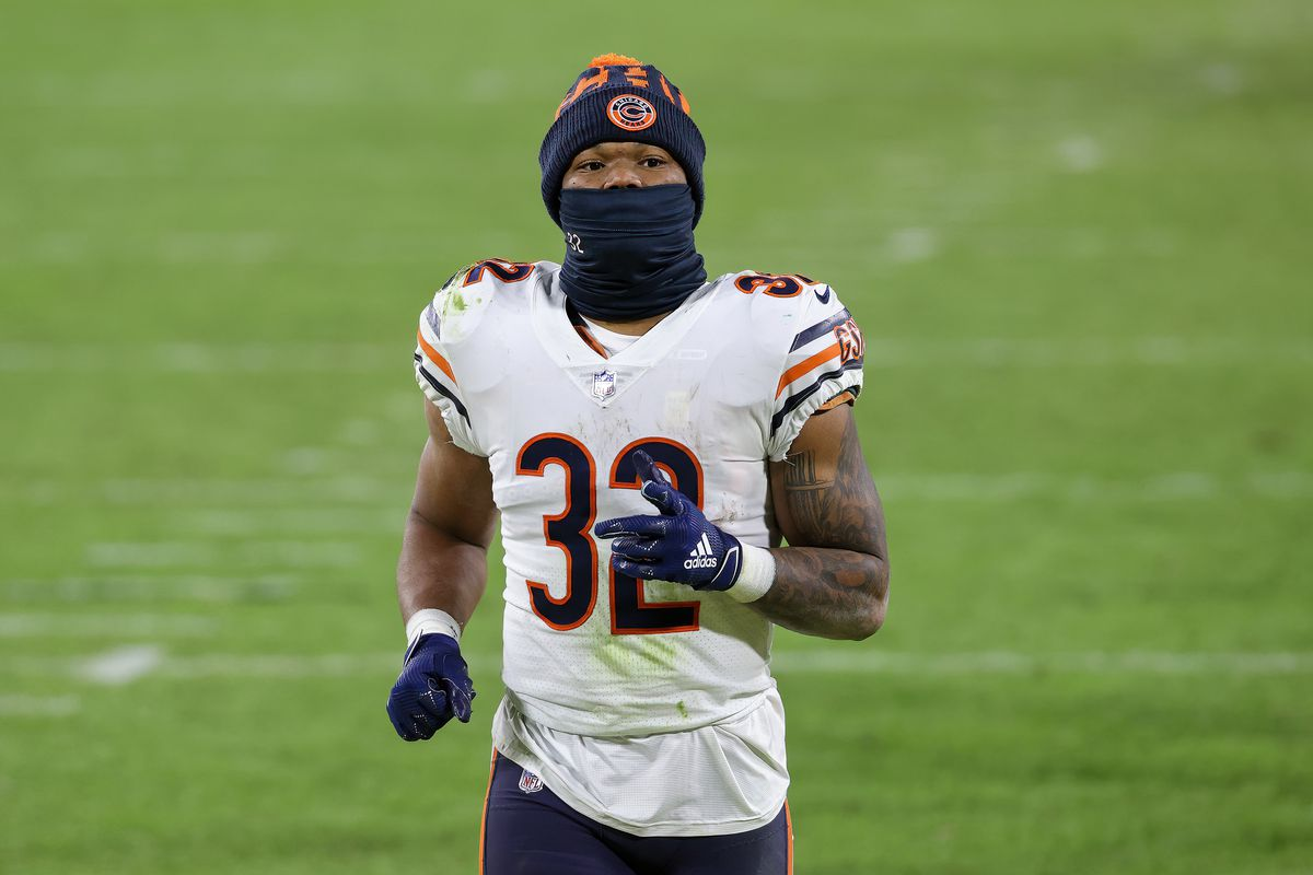 David Montgomery #32 of the Chicago Bears walks across the field after losing to the Green Bay Packers 41-25 at Lambeau Field on November 29, 2020 in Green Bay, Wisconsin.