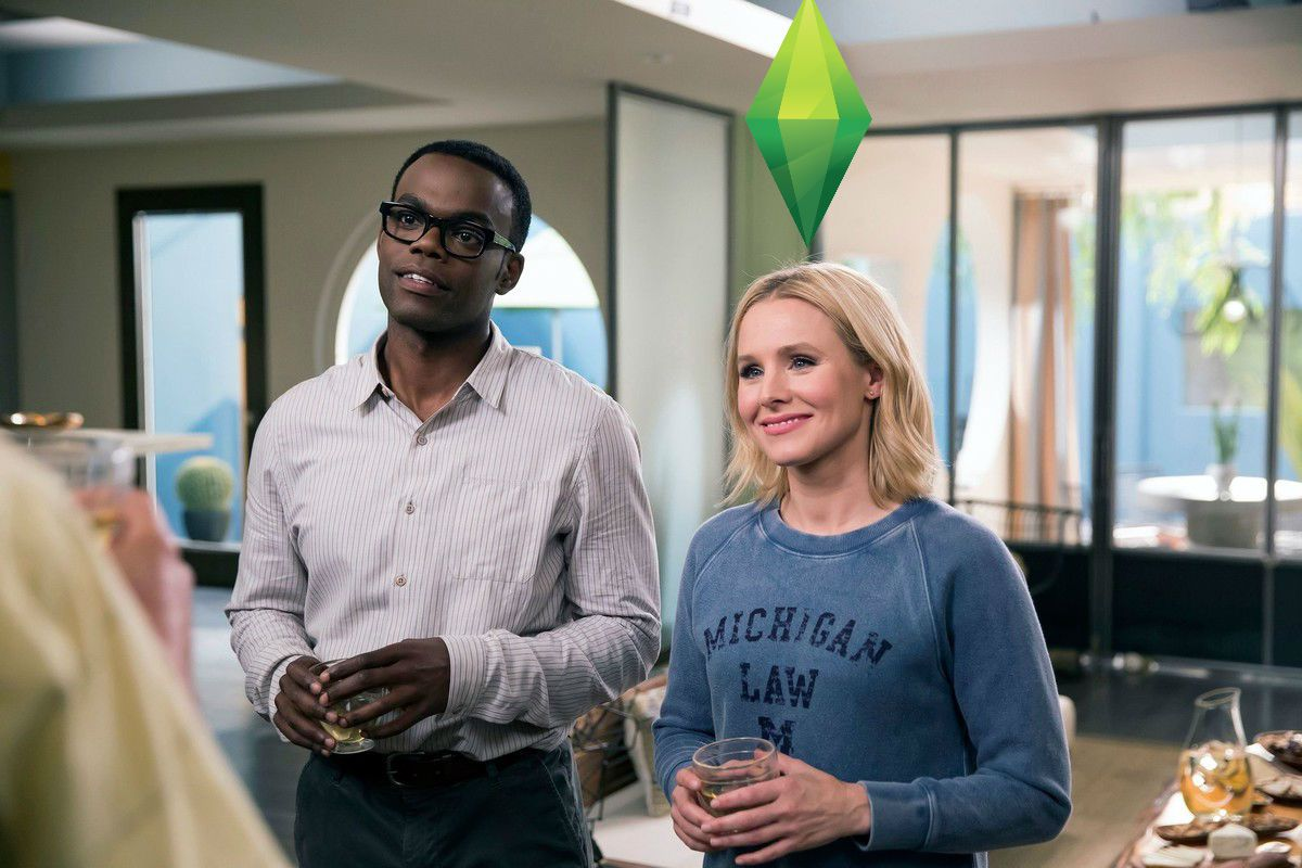 chidi and eleanor in the good place. eleanor has a green diamond — a sims plumbob — above her head