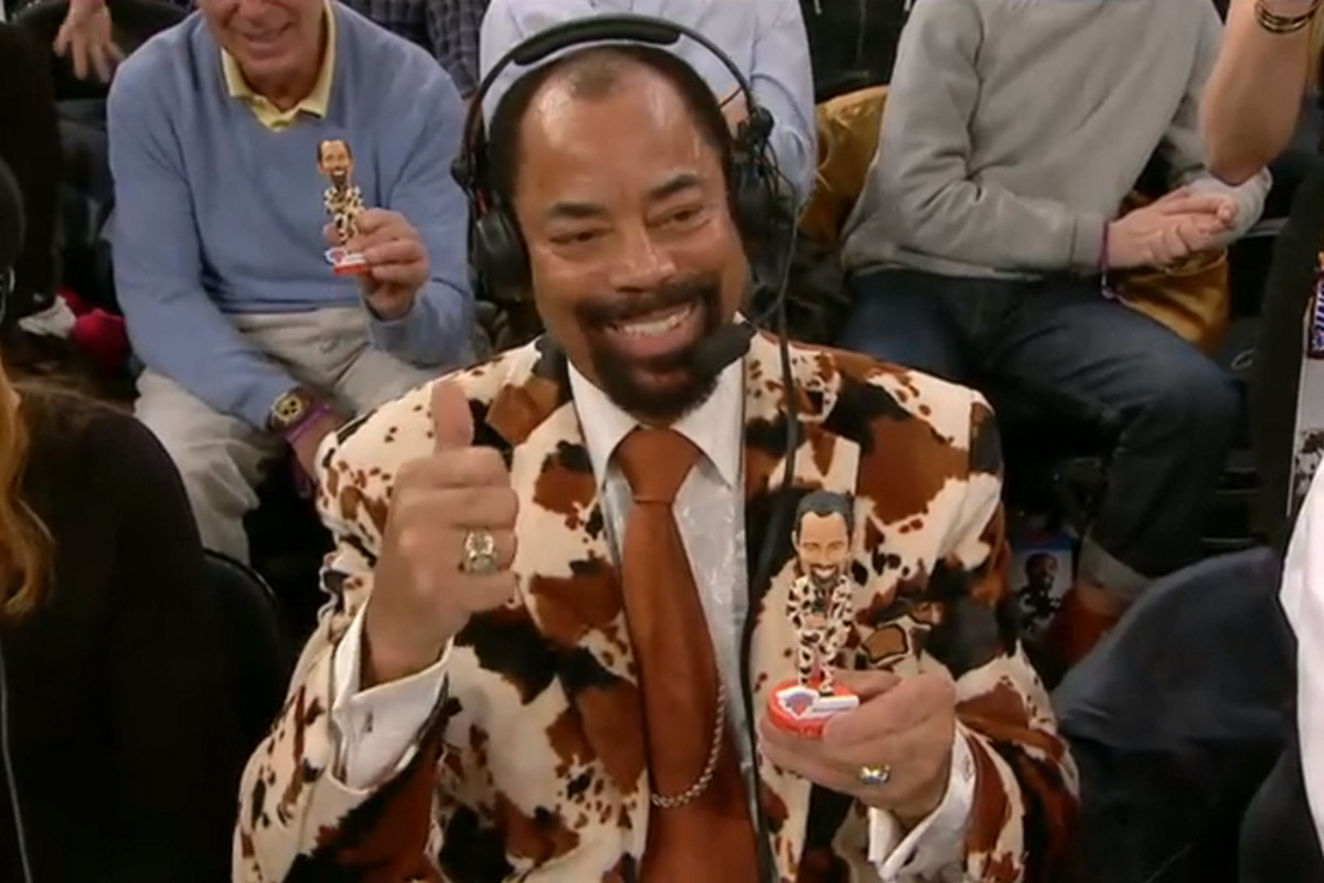 Clyde Frazier plays with his own bobblehead SBNation