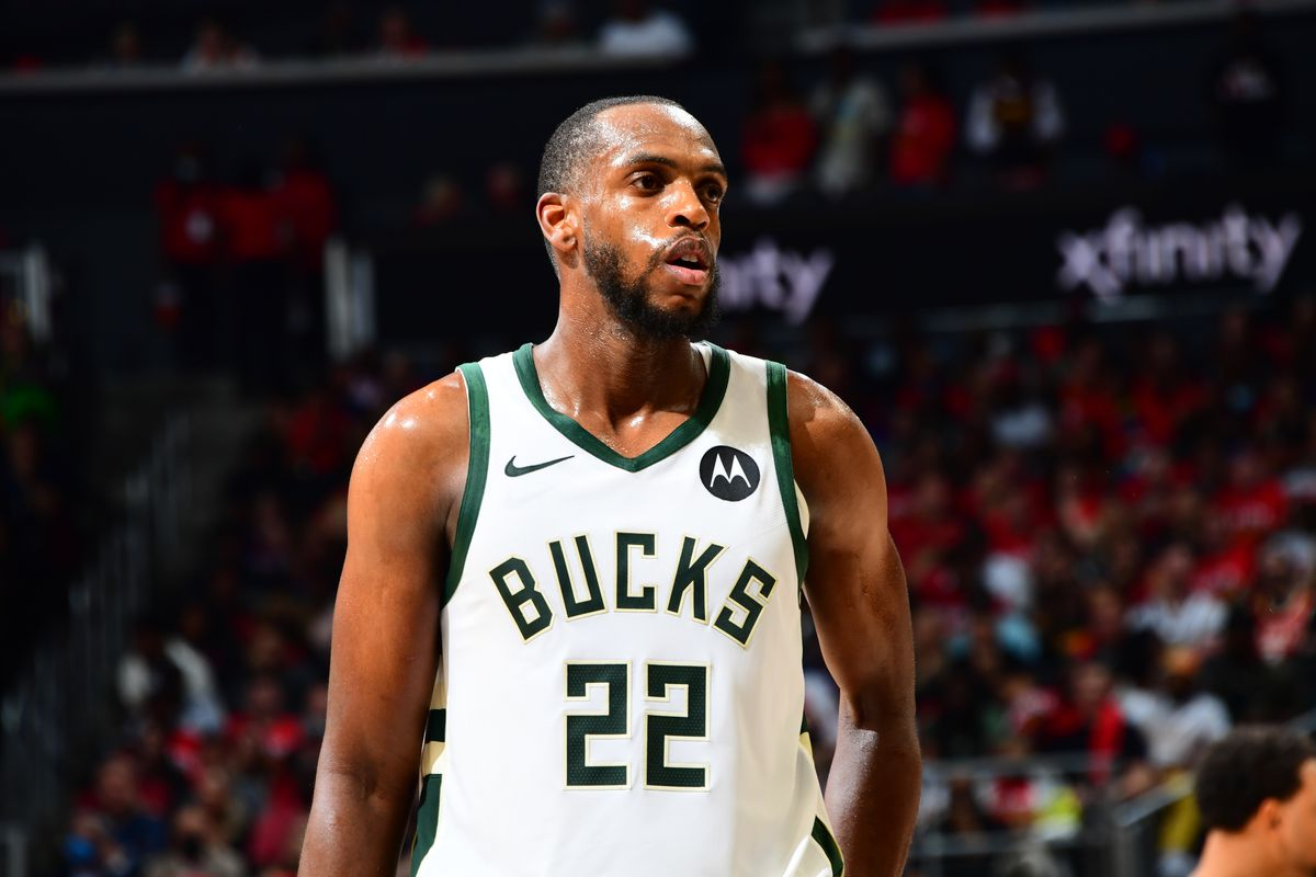 Khris Middleton #22 of the Milwaukee Bucks looks on during Game 6 of the Eastern Conference Finals of the 2021 NBA Playoffs on July 3, 2021 at State Farm Arena in Atlanta, Georgia.
