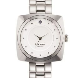 "Parsons Bracelet in stainless steel, <a href=""http://www.katespade.com/parsons-bracelet/1YRU0060,default,pd.html?dwvar_1YRU0060_color=022&start=42&cgid=watches"">$195</a>."