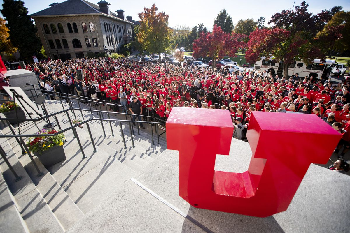 Student athletes and fellow students gather at the Park Building at the University of Utah in Salt Lake City on Wednesday, Oct. 24, 2018 for a vigil for Lauren McCluskey was killed Monday October 22, 2018.