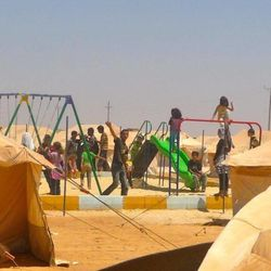 There are large numbers of children among the Syrian refugees at the Zaatari Camp in Jordan.