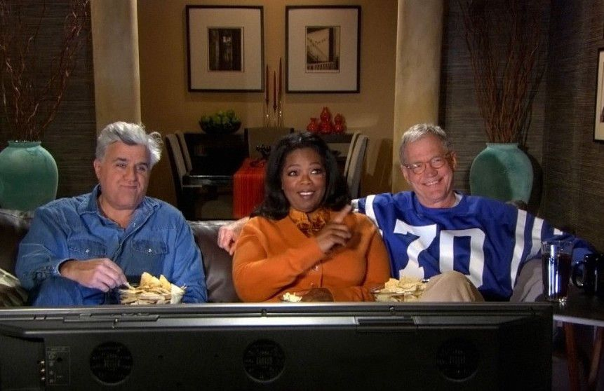 """Jay Leno, Oprah Winfrey and David Letterman appear in a """"Late Show"""" ad during Super Bowl 2010. 