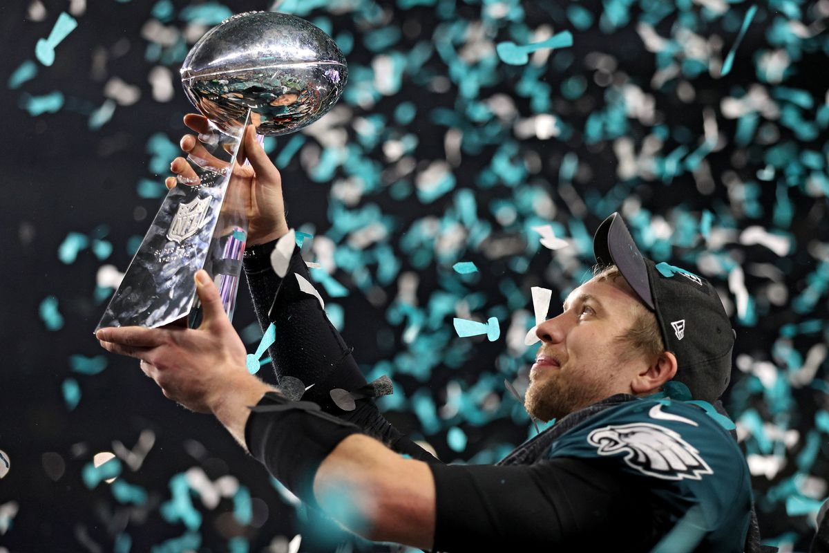 """Nick Foles was the MVP of Super Bowl LII after leading the Eagles to a 41-22 victory over the Patriots. """"I've never coached a quarterback before that had focus going into that stretch of games that Nick did,"""" said Bears quarterbacks coach John DeFilippo, who was the Eagles' quarterbacks coach that season."""