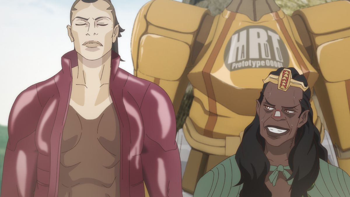 The Russian lycan mercenary Nikita and the Beninese shaman Achoja in Yasuke.