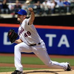 New York Mets' Jonathon Niese delivers a pitch during the first inning of a baseball game against the Atlanta Braves on Sunday, April 8, 2012, in New York.