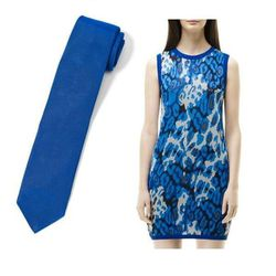 """Combine two fashion go-tos—leopard print and cobalt blue—and you've got an easy outfit that both makes perfect sense and will impress your friends. Make sure your date's tie is solid cobalt, so as not to distract from you!  <a href=""""http://www"""