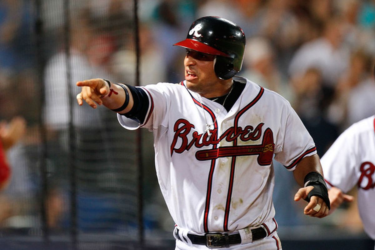Martin Prado found out who's responsible for the lack of run support the Braves have given Kenshin Kawakami. It was THAT GUY, with the moustache and the shifty eyes. GET HIM, BOYS!!!
