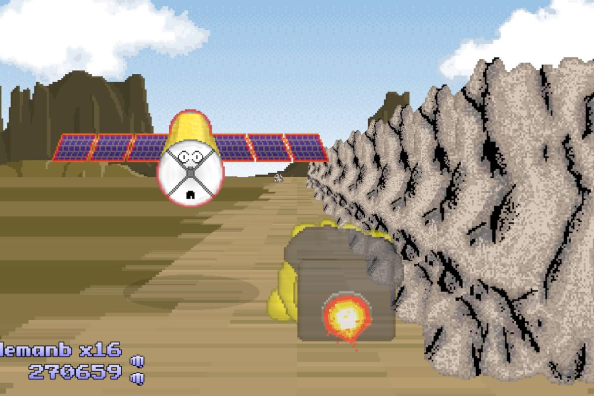 a strange, pixelated landscape involving a space station with a face, a rocket propelled fist, and a rock wall