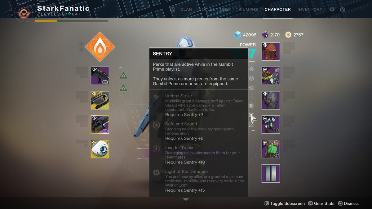 Sentry Gambit Prime armor set