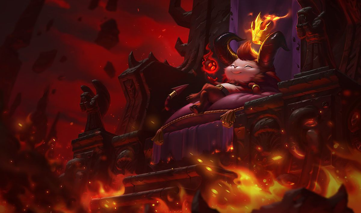 Little Devil Teemo sits on a throne in hell