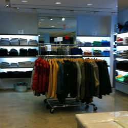 A wide view of the men's selection downstairs