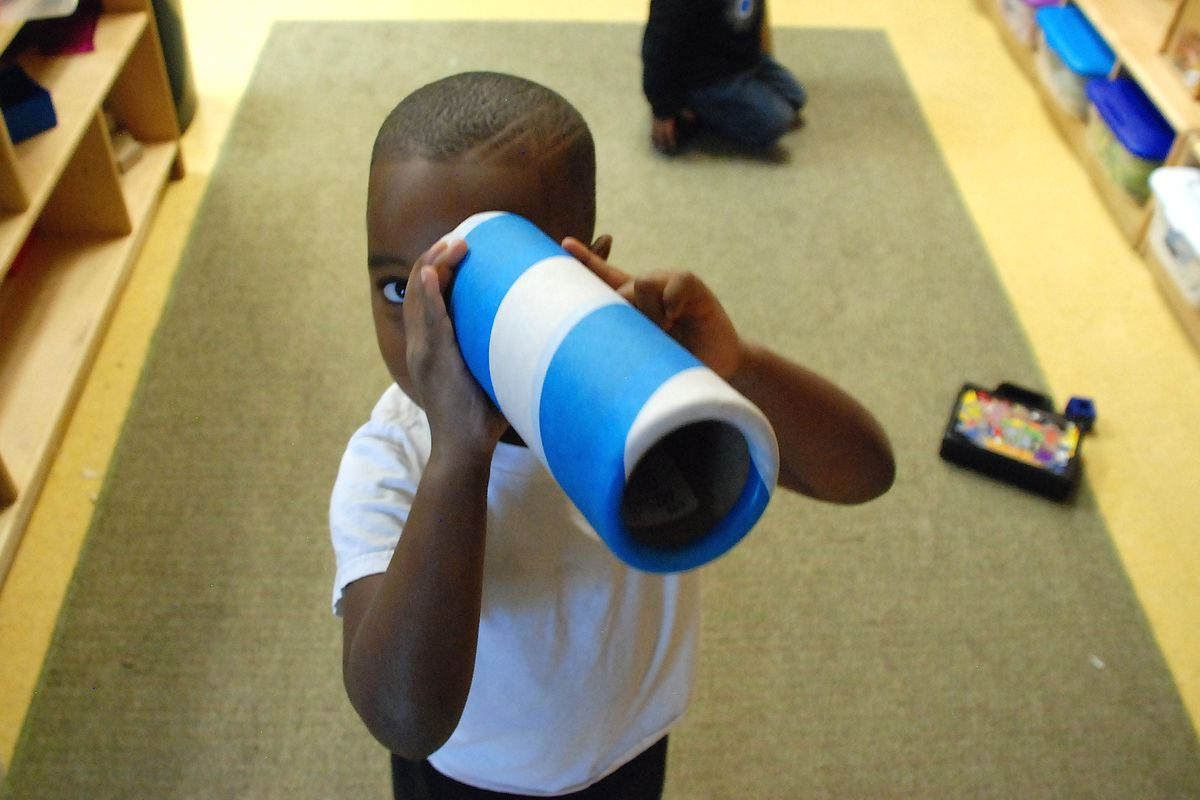 A preschooler at Clayton Early Learning created a makeshift telescope this fall.