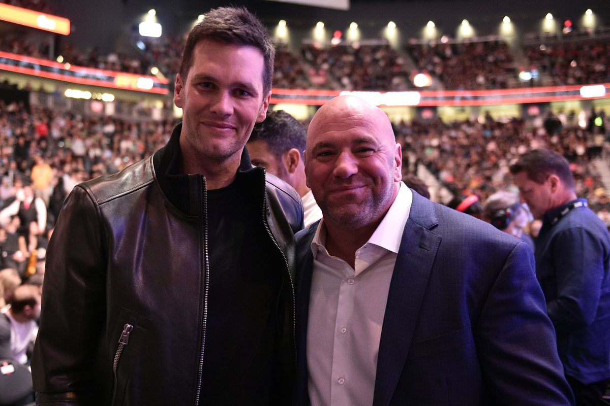 Tom Brady poses for a photo with UFC president Dana White during the UFC 246 event at T-Mobile Arena on January 18, 2020 in Las Vegas, Nevada.