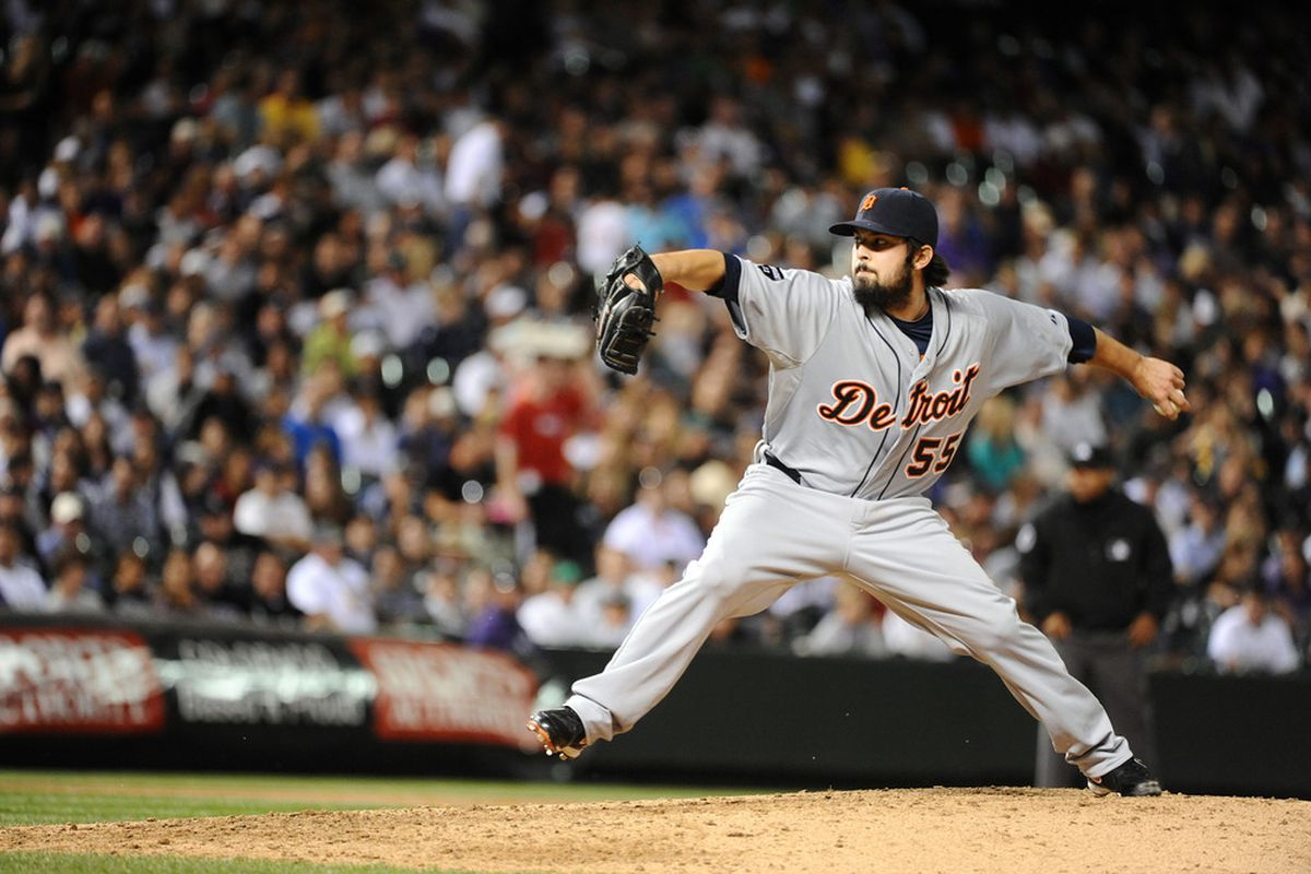 DENVER, CO - JUNE 17: Daniel Schlereth #55 of the Detroit Tigers pitches against the Colorado Rockies during the game at Coors Field on June 17, 2011 in Denver, Colorado.  (Photo by Garrett W. Ellwood/Getty Images)