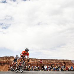 Cyclists take the last loop passing through, Teasdale, Utah, and finishing up Stage 2 of the Tour of Utah in Torrey on Tuesday, Aug. 2, 2016.