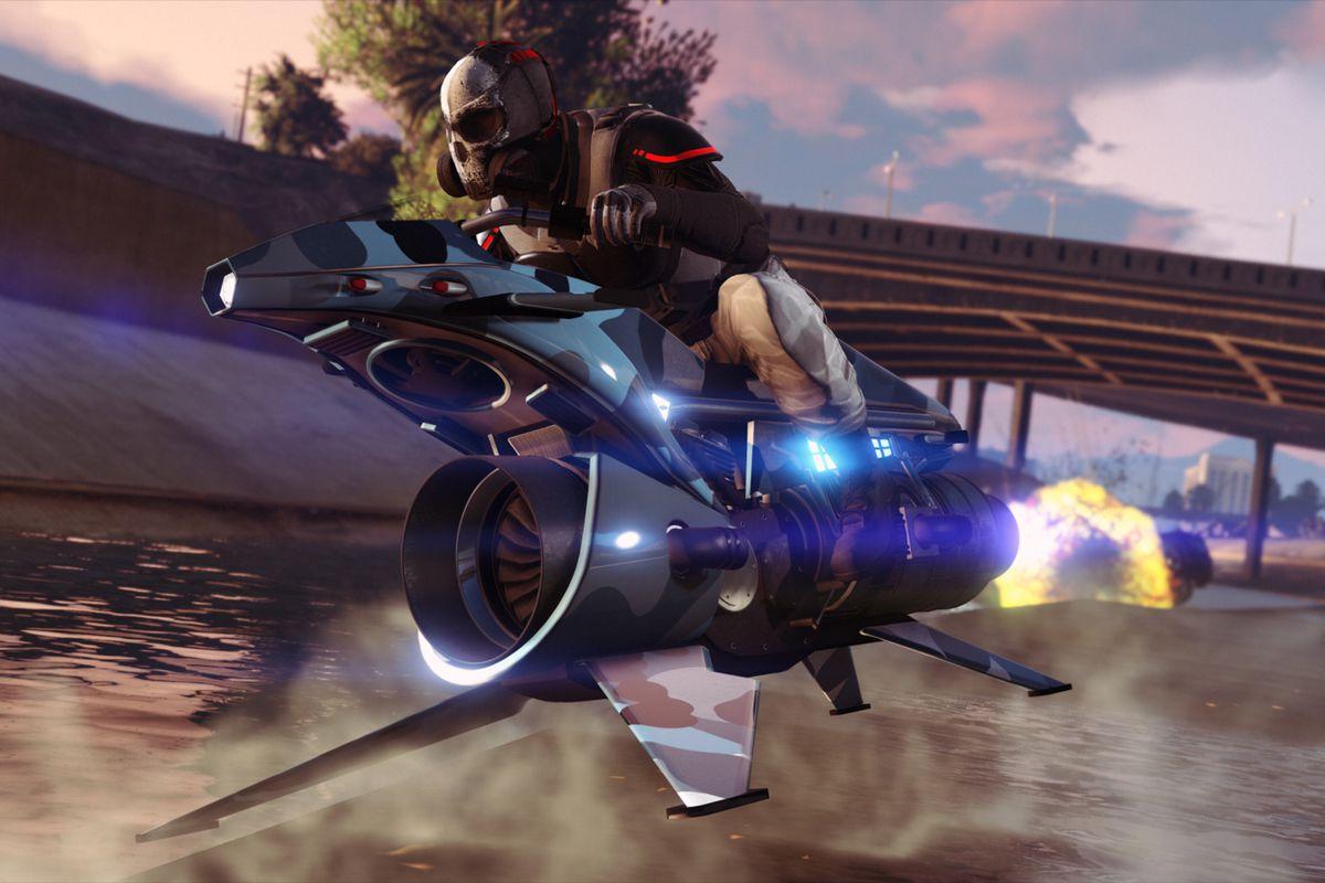 Grand Theft Auto Online - a masked player drives an Oppressor Mk II