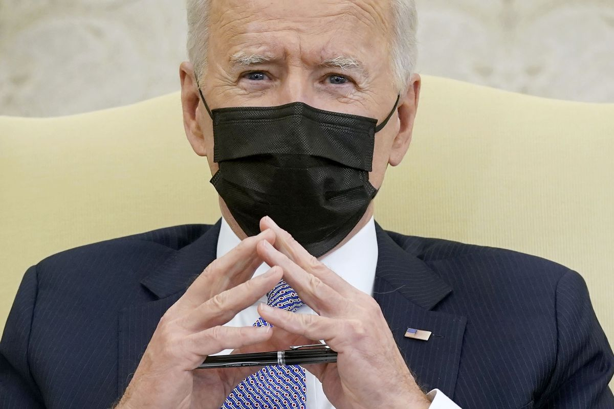 In this April 12, 2021, file photo President Joe Biden speaks during a meeting with lawmakers to discuss the American Jobs Plan in the Oval Office of the White House in Washington. Biden will mark his 100th day in office on Thursday, April 29.