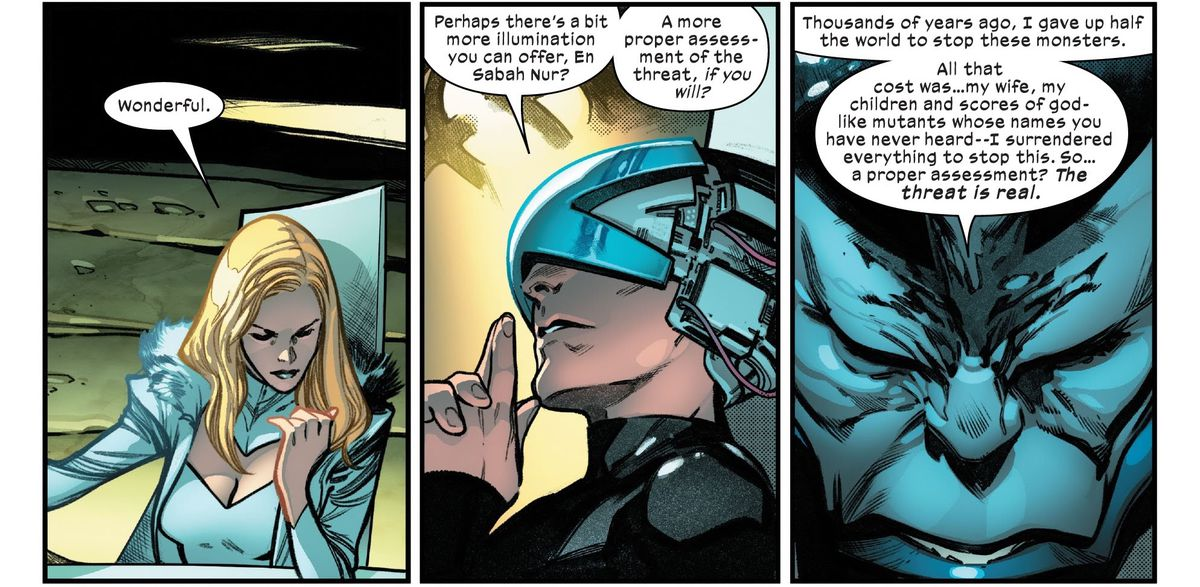 """Emma Frost and Professor X ask Apocalypse if there is anything more he can tell them about the threat they're facing. """"Thousands of years ago,"""" he replies with bowed head, """"I gave up half the world to stop these monsters. All that cost was... my wife, my children and scores of god-like mutants whose names you have never heard,"""" in X of Swords: Creation #1, Marvel Comics (2020)."""