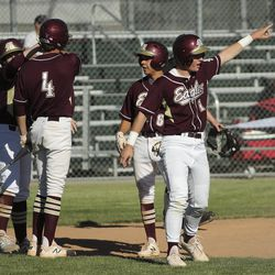 Maple Mountain's Mason Green (1) scores against Cottonwood during Last Chance Tournament in Spanish Fork on Thursday, May 28, 2020.